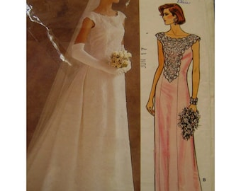 Mother of the Bride Dress Pattern, Bridesmaid, Bride, Front Lace Panel, Fitted, Flared Skirt, Scoop Neck, Cap Sleeve, Vogue No. 1518 Size 12