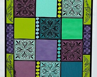"stained glass panel window, hand painted, kiln fired ""Eldredon""'JI702 15"" x 18"""