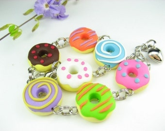 Fun Donut Bracelet Food Jewelry, food bracelet, doughut, donut jewelry, gift for women, colorful funny unique polymer clay costume cute