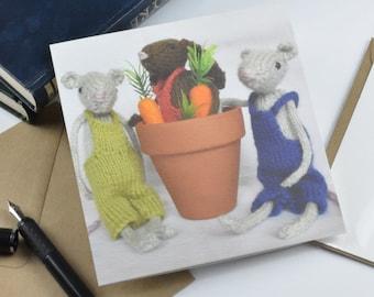 Springtime Friends greetings cards, fun, mice, retro