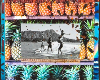 LOCAL MOTION, HI, Best Seller, 8x10, 11x14, 16x20, Matted Print, Hawaii, Tandem Surfing, Pineapples, Rainbow, Diamond Head, Wall Art