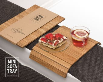 Mini Sofa Tray, Oak Wood, Faux Leather Backing (brown), Couch Tray, Laptop Base