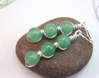 Green Aventurine earrings -  wire wrapped gemstone earrings - green earrings - wire wrap earrings - sterling silver ear hooks