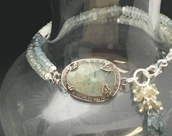 Moss Aquamarine Bracelet, Diamond Bracelet, Gemstone Bracelet, Artisan Bracelet,  Blue Stone Bracelet, Bracelets under  300