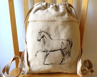Horse Canvas Backpack School Bag