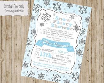 Baby Sprinkle Invitation, Snow Sprinkle Invitation, Sprinkle Baby Shower Invitation, Sprinkle Shower, Flurry, Snowflake invitation