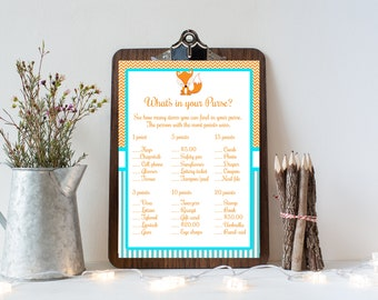 Fox What's in Your Purse Baby Shower Game, Fox Baby Shower, Baby Shower Printable Games