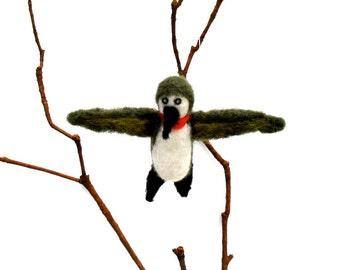 Needle felted bird, Hummingbird ornament