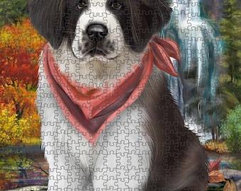 Scenic Waterfall Saint Bernard Dog Puzzle with Photo Tin