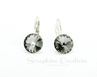 Grey Crystal Earrings Swarovski Rivoli Black Diamond Earrings Sparkly Bridal Bridesmaid Gift Bridal Party Bridesmaid Jewelry Charcoal K011
