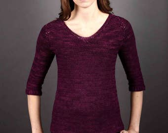 CROCHET sweater PATTERN, pullover pattern. women's sweater pattern, crochet pattern, top down crochet, instant download, V neck, Seamless
