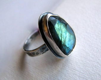 Sterling Silver Ring, Labradorite Ring, Gemstone Ring, Handmade Silver Jewelry, Ring Size 7