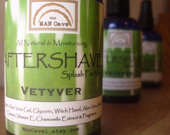 AFTERSHAVE- VETYVER - All Natural Face Conditioner with Aloe, Green Tea and Chamomile by Man Cave Soapworks