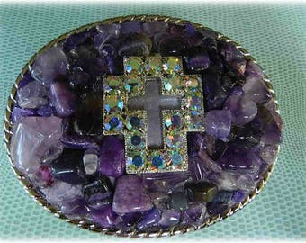 Wearable Art Purple Mosaic Belt Buckle with Stone Cross