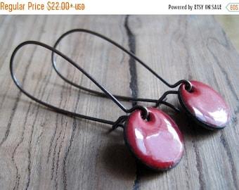 Dangle Earrings, Ruby Red, Copper Enamel Jewelry, Nickel Free Kidney Earwires, Love Note Red, Handmade Earrings