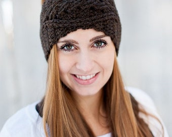 Cabled Crochet Earwarmer - Braided Crochet Headband - Custom Options Available