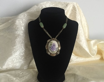 Porcelin Flower Pendant and Jade Necklace