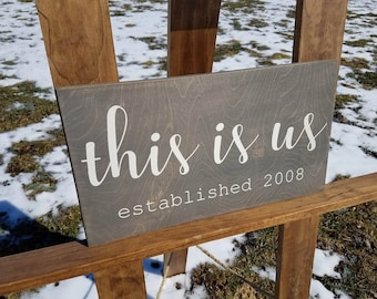 This Is Us Sign - Family Established Sign - Wedding Gift - Gifts for Wife - Christmas Gifts - Family Sign - Wood Wall Art