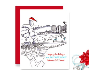 Vancouver Christmas Card, Illustrated Card, Vancouver Christmas, Vancouver BC Canada - Christmas Card