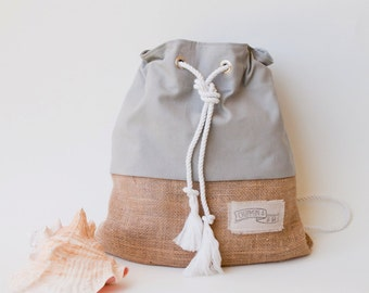Gray Canvas Backpack Beach Bag The Sandbag Satchel