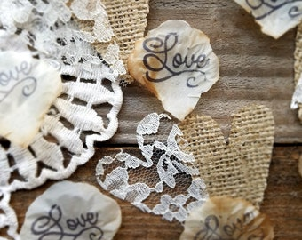 Wedding Table Decorations Centerpiece~Rustic Wedding Table Confetti~Country Wedding Aisle Runner Idea~Burlap Table Runner With Lace Confetti