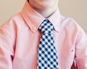 Boy's Tie - Navy Blue Gingham - any size boys necktie - navy gingham tie Boys Neckties boys ties Navy Blue Tie navy gingham tie kids ties