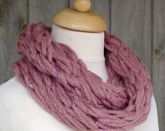 Merino Snood: pink tweed
