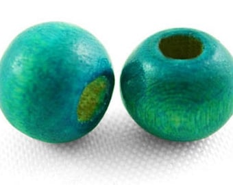 200 BEADS WOOD 7 X 6 MM NEW BLUE GREEN ROUND