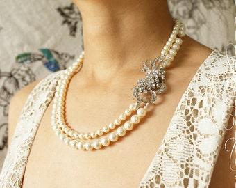 Rhinestone feather brooch bridal statement necklace, double strands Swarovski pearls Rhinestone statement necklace