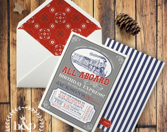 Vintage Inspired Choo Choo Train Birthday Invitation