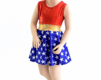 Toddlers and Girls Size 2T 3T 4T and 5-12 Red & White Sparkly Super Hero Skater Dress 153906