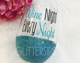 Wine Night Every Night Stemless Glitter Wine Glass // Glitter Stem // Glitter Glass // Stemless Wine Glass // Wine Night // Wine Glass