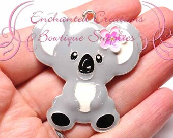 "2""  White and Grey Koala Bear Pendant, Keychain, Bookmark, Zipper Pull, Chunky Jewelry, Animal Jewelry, Bubblegum Jewelry, Planner Charm"