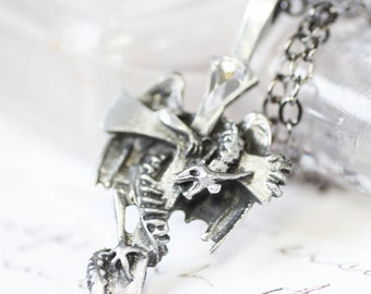 Dragon Necklace - Swarovski Crystal with Pewter Pendant and Gunmetal Chain Necklace Men's or Women's Necklace Unisex