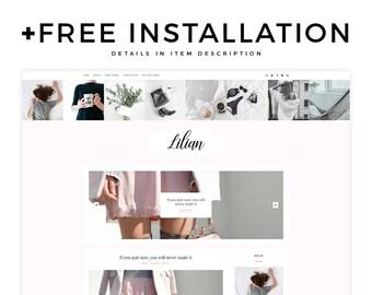 "Blogger Template - ""Lilian"" | Minimal Blogger Template, Responsive Blogger Theme, Feminine Blog Theme, Makeup Blog, Beauty Lifestyle Design"