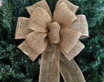 "Natural Burlap 9"" wide Bow Wired Ribbon for tree topper, wedding pew wreath  gifts decorations"