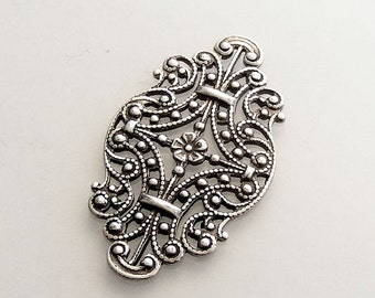 Oxidized Sterling Silver Plated Victorian Style Filigree (Qty 1) 33x19mm L89-VJS S-9104