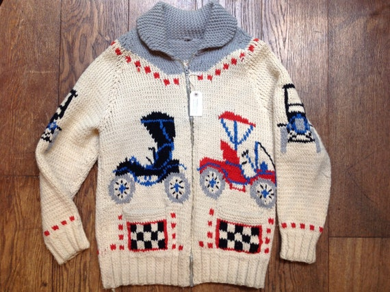 "Vintage 1960s 60s handknitted chunky wool cowichan sweater cardigan red white blue cars Model T racing 42"" chest Lightning zipper hot rod"