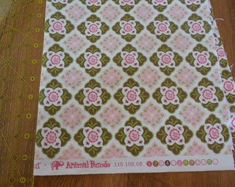Destash- Pink and Green Floral Cotton Fabric Remnant For Quilting Or Crafting