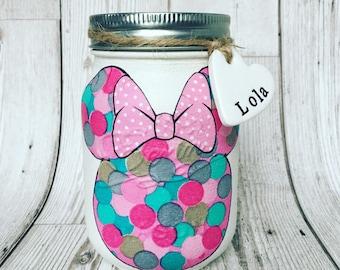 Handmade Minnie Mouse mason jars - girls bedroom, birthday gift, new baby gift, christening gift.