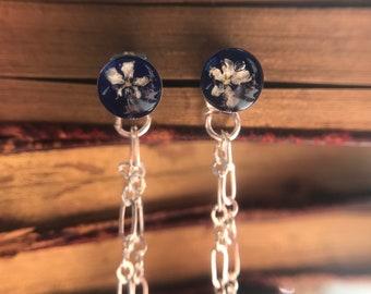 Real flowers sterling silver drop earrings