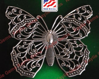1 Exquisite Butterfly Filigree Stamping Victorian Style Oxidized Antique Silver USA