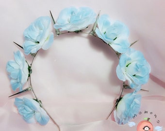 Baby blue flower crown with spikes