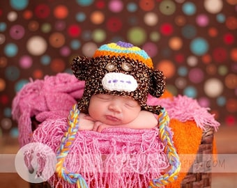Baby Monkey Hat - Baby Hat - Newborn Hat Rainbow Monkey All Colors Available
