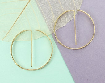 Modern Hoop Earrings, Gold Earrings, Earrings, Gold Hoop Earrings, Textured Hoops, Designer Earrings, Large Hoops, Gifts for Her, Geometric
