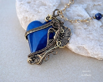 Bright blue agate heart wire wrapped pendant in Art Nouveau with Lapis Lazuli - OOAK
