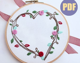 Heart Wreath-hand embroidery pattern | floral design | digital PDF | embroidery pdf | embroidery pattern