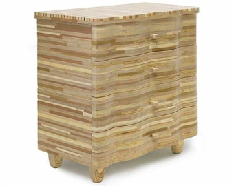 Chest of drawers made of stacked plywood and mdf