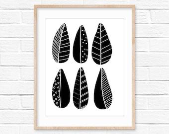 Black leaves wall art