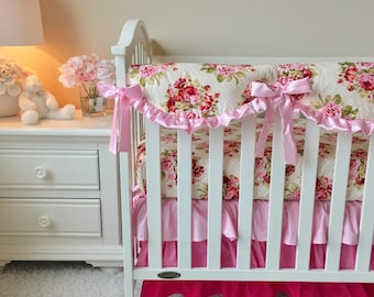 Rambling Roses Bumperless 3pc Crib Bedding, Shabby Roses Baby Bedding, Pink Bumperless Baby Bedding, Pink Ombre Crib Bedding, Girl Crib Set